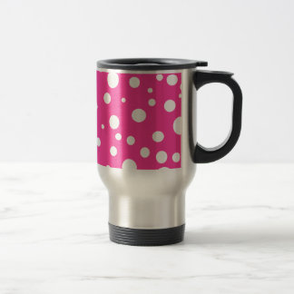Pink with White Polka Dots Customizable Design 15 Oz Stainless Steel Travel Mug