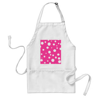 Pink with White Polka Dots Customizable Design Adult Apron