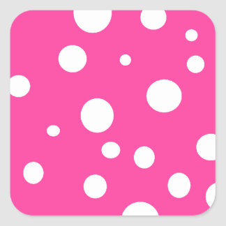 Pink with White Polka Dots Customizable Design Square Sticker