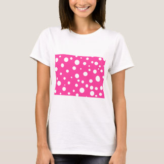Pink with White Polka Dots Customizable Design T-Shirt