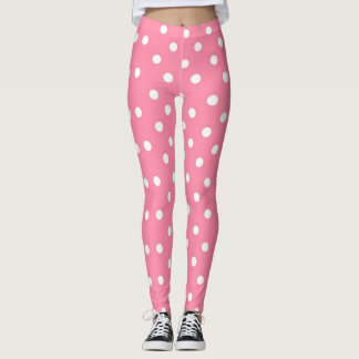 Pink with White Polka Dots Leggings