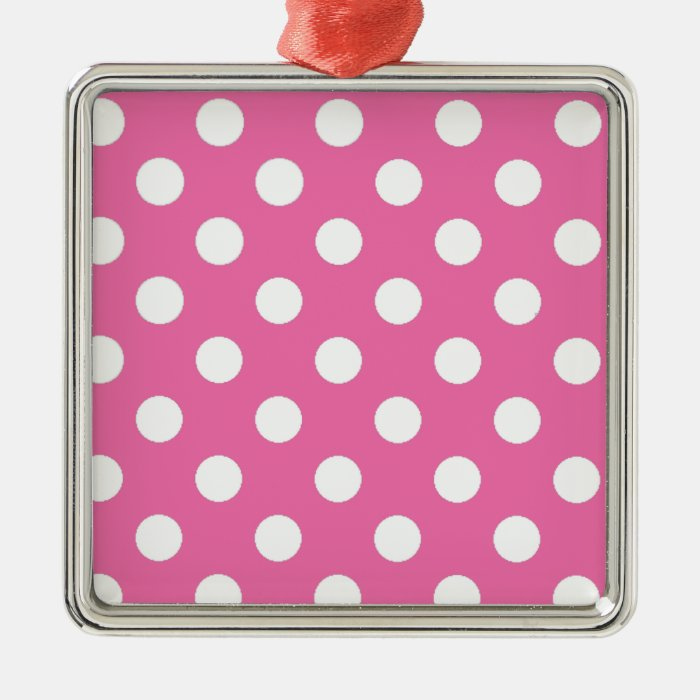 Pink with White Polka Dots Metal Ornament