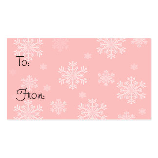 Pink with White Snowflakes - Holiday Gift Tags Double-Sided Standard Business Cards (Pack Of 100)