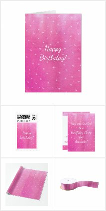 Pink with White Stars Birthday Collection