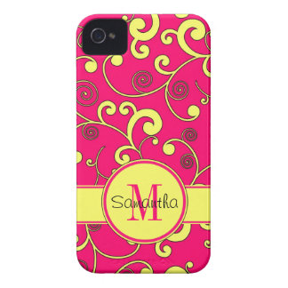 Pink with Yellow Scroll Design Custom Monogram iPhone 4 Cover