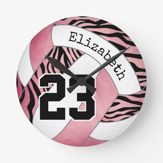 pink with zebra pattern personalized volleyball round clock