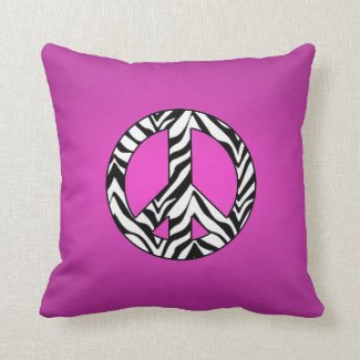 Pink With Zebra Peace Sign Pillow