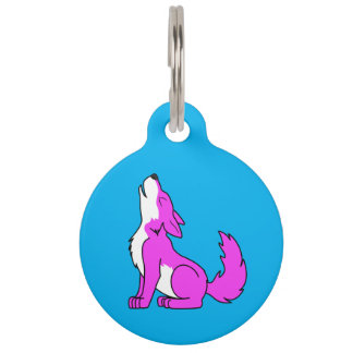 Pink Wolf Pup Howling Pet Name Tag