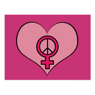 Pink Women's Rights Love Heart Protest Postcard