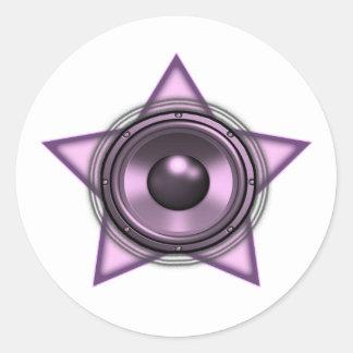 Pink Womens Sub Bass Woofer Star Round Stickers