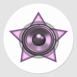 Pink Womens Sub Bass Woofer Star Round Stickers