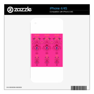 Pink wonderful Ornaments Folk design Skins For iPhone 4