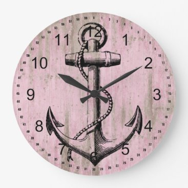 Beach Themed Pink Wood Anchor Large Clock