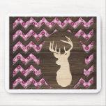 Pink Wood Chevron Deer Buck Mouse Pad