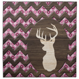 Pink Wood Chevron Deer Buck Napkin