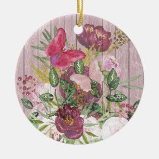 Pink Wood Effect Purple Peony Floral Bouquet Ceramic Ornament