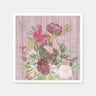 Pink Wood Effect Purple Peony Floral Bouquet Napkin