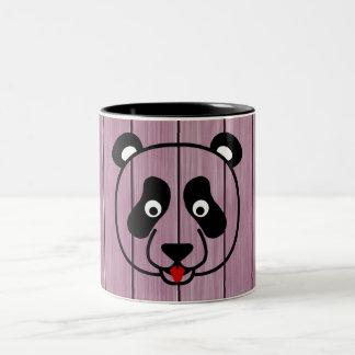 Pink Wood Panda Face Two-Tone Coffee Mug
