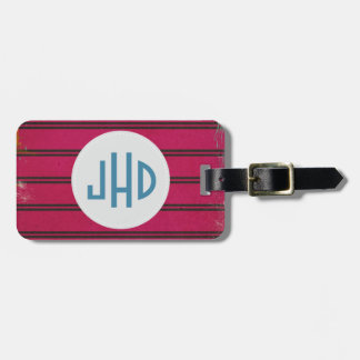 Pink Wood Pattern Custom Monogram Luggage Tag