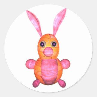 Pink wood rabbits by Valxart.com Classic Round Sticker