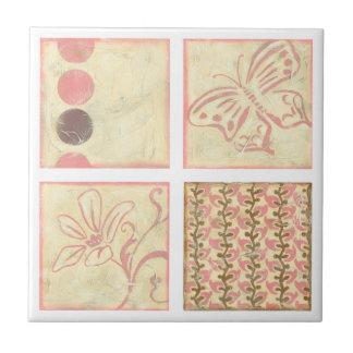 Pink Woodblock Drawings by Chariklia Zarris Ceramic Tile