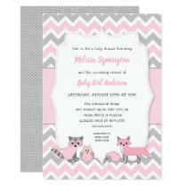 Pink woodland animal baby shower invitation