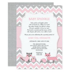 Baby girl shower invitations zazzle pink woodland animal baby sprinkle baby shower card filmwisefo