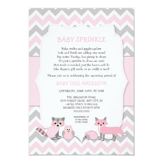 Pink woodland animal baby sprinkle, baby shower card