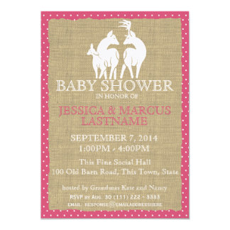 Pink Woodland Baby Shower Deer and Burlap 5x7 Paper Invitation Card