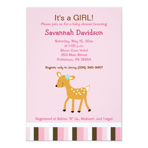 Pink Woodland Deer Girl Baby Shower Invitation