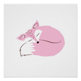 Pink Woodland Fox Poster