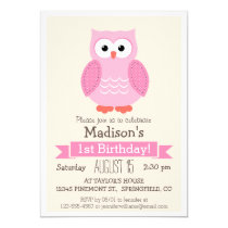 Pink Woodland Owl Girl's Birthday Party Invitation
