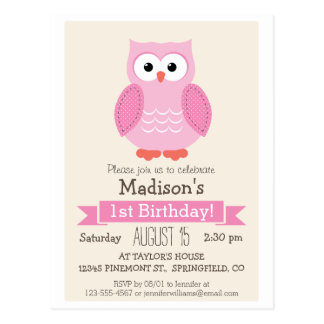 Pink Woodland Owl Girl's Birthday Party Invitation Postcard