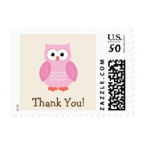 Pink Woodland Owl Thank You Postage