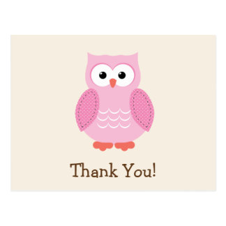 Pink Woodland Owl Thank You Postcard