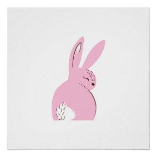 Pink Woodland Rabbit Poster