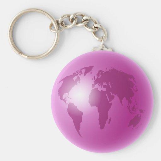 Pink World Globe Keychain
