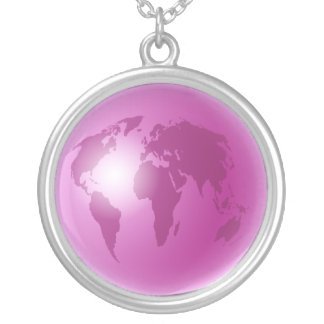 Pink World Globe Silver Plated Necklace