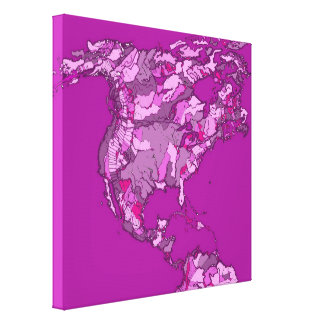 Pink world map canvas print