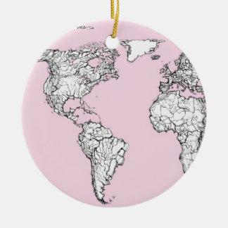 pink world map ceramic ornament
