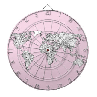 pink world map dart board