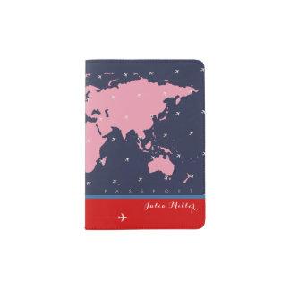 pink world map, document travel passport holder