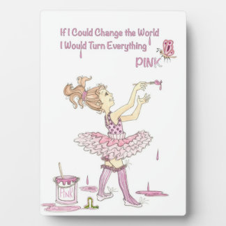 PINK World Picture with easle Plaque