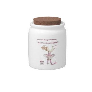 PINK World porcelain candy jar