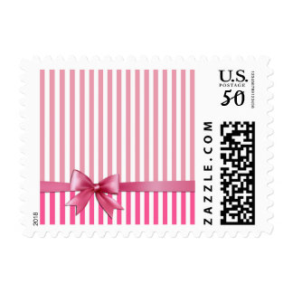 Pink Wrapping Paper and Bow Stamp