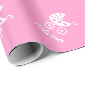 Pink wrapping paper with cute baby carriage