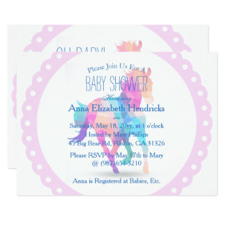Pink Wreath Geometric Running Horse Baby Shower Card