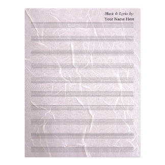 Pink Wrinkled Fabric  Blank Sheet Music 10 Stave Letterhead