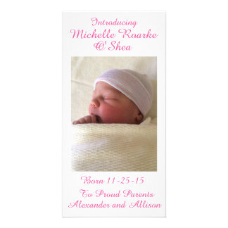 Pink Writing Inscription Baby Announcement 8x4