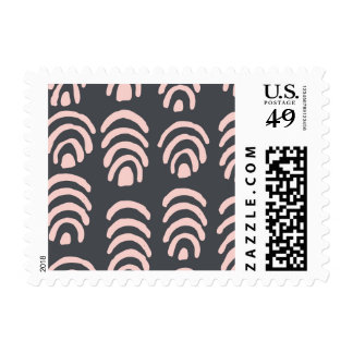 Pink X Grey Rounded Brackets Postage
